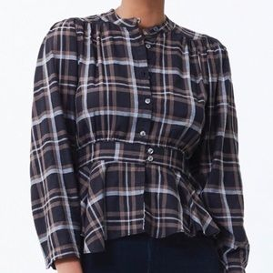 CITIZENS OF HUMANITY Margaux Plaid Blouse  S